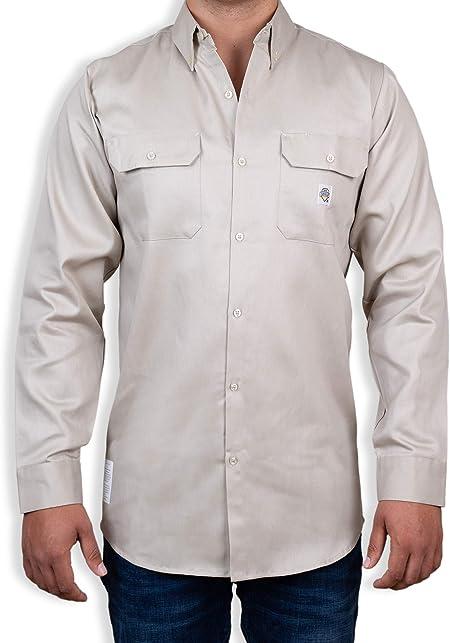 Medium, Sand Fire Retardant Shirt for The Warm Months Light Weight FR Shirt for Men Fire Resistant Shirt in A Light Weight Fabric