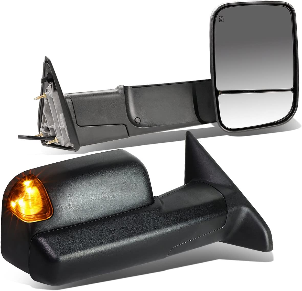 DNA motoring TWM-013-T888-BK-SM Pair of Towing Side Mirrors Driver and Passenger Sides