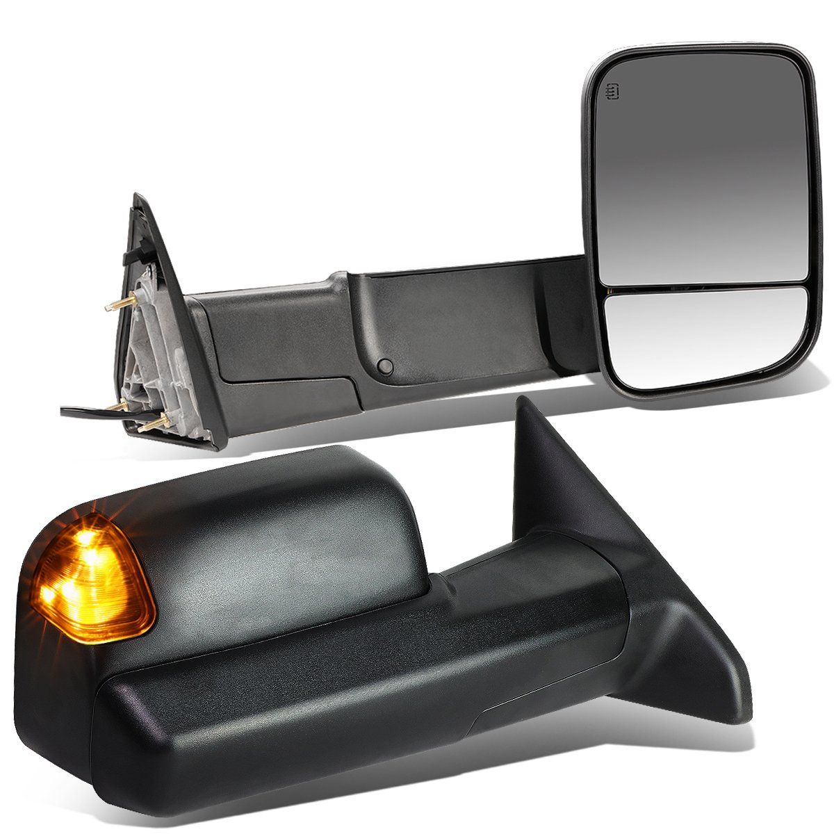 For Dodge RAM Pair of Black Powered + Heated Glass + Signal + Foldable Side Towing Mirrors Auto Dynasty