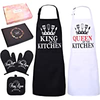 FANKUTOYS Mr and Mrs Kitchen Set of 5, Includes Mr King and Mrs Queen Aprons for Happy Couple, Oven Mitts and Potholder…