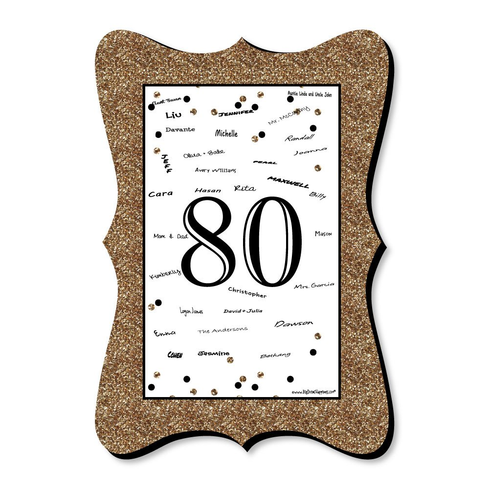 Big Dot of Happiness Adult 80th Birthday - Gold - Unique Alternative Guest Book - Birthday Party Signature Mat
