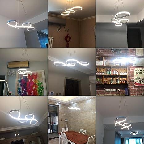 Lampadario Moderni LED, KOONTING® 48W LED Lampadario a Sospensione,  Alluminio e PMMA Lampadario Plafoniera, Per Cucina Ristorante Ufficio  Soggiorno ...