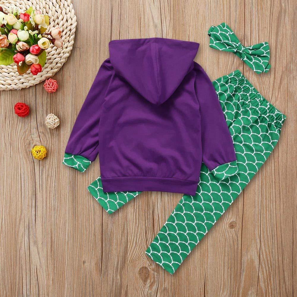 Iuhan  3PC Baby Girls Outfit 1-5Year Toddler Kids Mermaid Hoodie Tops Pants