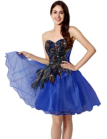 Clearbridal Womens Short Peacock Prom Party Homecoming Dresses For Juniors