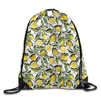 2d4aed7cd2 Image Unavailable. Image not available for. Color  Drawstring Bag Gym Bag  Travel Backpack Lemons Canvas ...