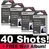 Fujifilm Instax Monochrome Film, Set di pellicole, 40 foto, con album da parete incluso