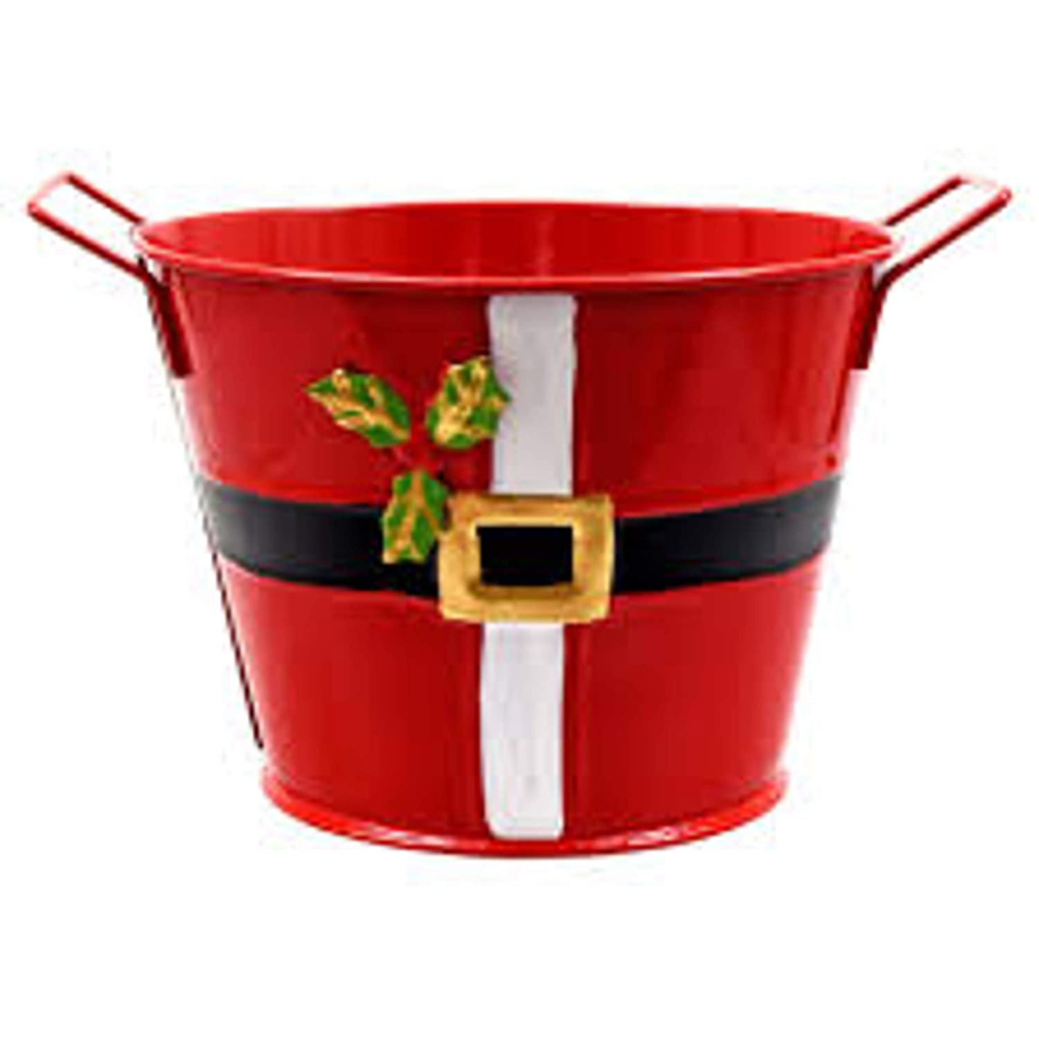 Christmas Themed Decorative Tin Bucket With Handles