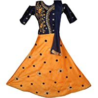 Ashwini Girl Polyester Embroidery Mirror Work Salwar Suit with Zip Clouser