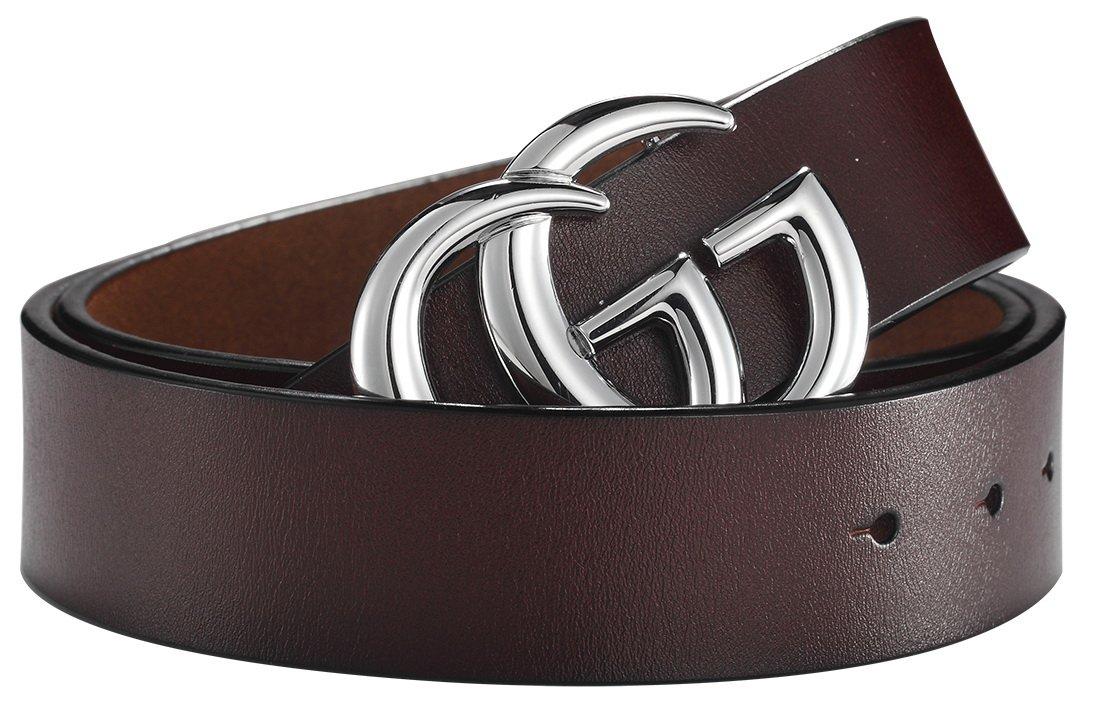 G-Style Silver Buckle Unisex Mens Womens Fashion Belt ~ 3.8cm Belt Width (110cm (Waist 32''~38'' or Below), Coffee)