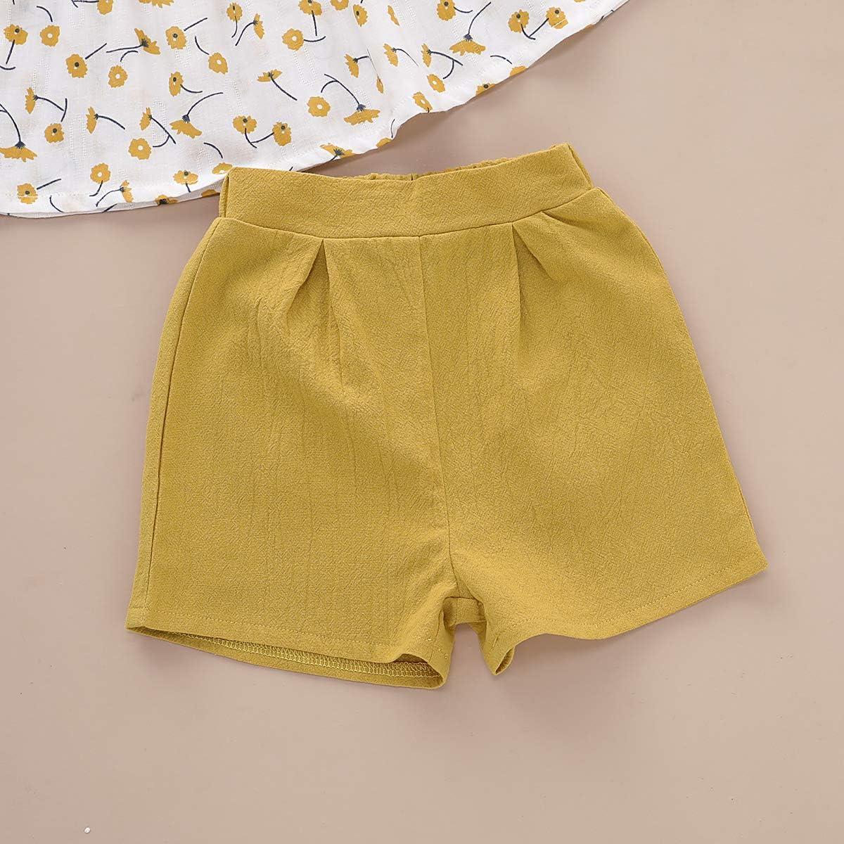 DaMohony 2 Pezzi Pantaloncini Gialli Completo da Bambina a Maniche Corte con Motivo Floreale