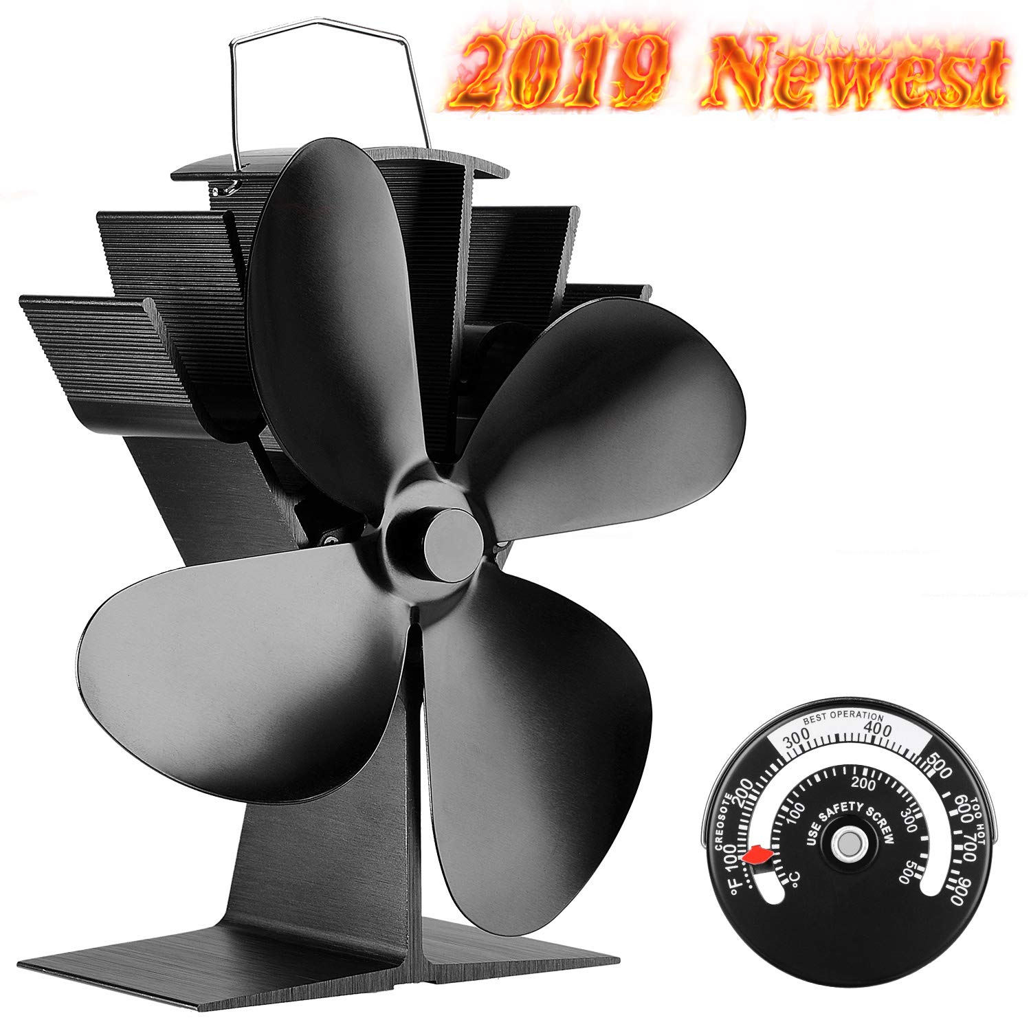 Sonyabecca Heat Powered Stove Fan with Magnetic Thermometer 4 Blade Wood Stove Fans Aluminium Silent Eco-Friendly for Wood Log Burner Fireplace by Sonyabecca