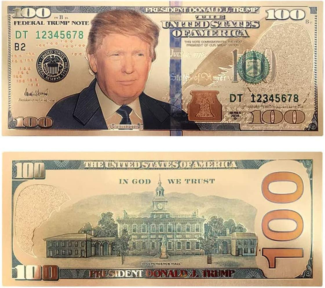 Million Dollar Bill with US President Donald Trump 24k Gold Plated Fake Bankn...