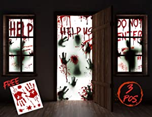 """KD KIDPAR 3Pcs Halloween Window Door Decoration Covers Set, Includes 2Pcs 60x30"""" Window Clings and 1Pcs 80x36"""" Door Posters with Bloody Handprints Scary Silhouette, Indoor and Outdoor Décor for Party"""