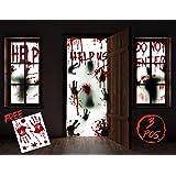 "KD KIDPAR 3Pcs Halloween Window Door Decoration Covers Set, Includes 2Pcs 60x30"" Window Clings and 1Pcs 80x36"" Door…"
