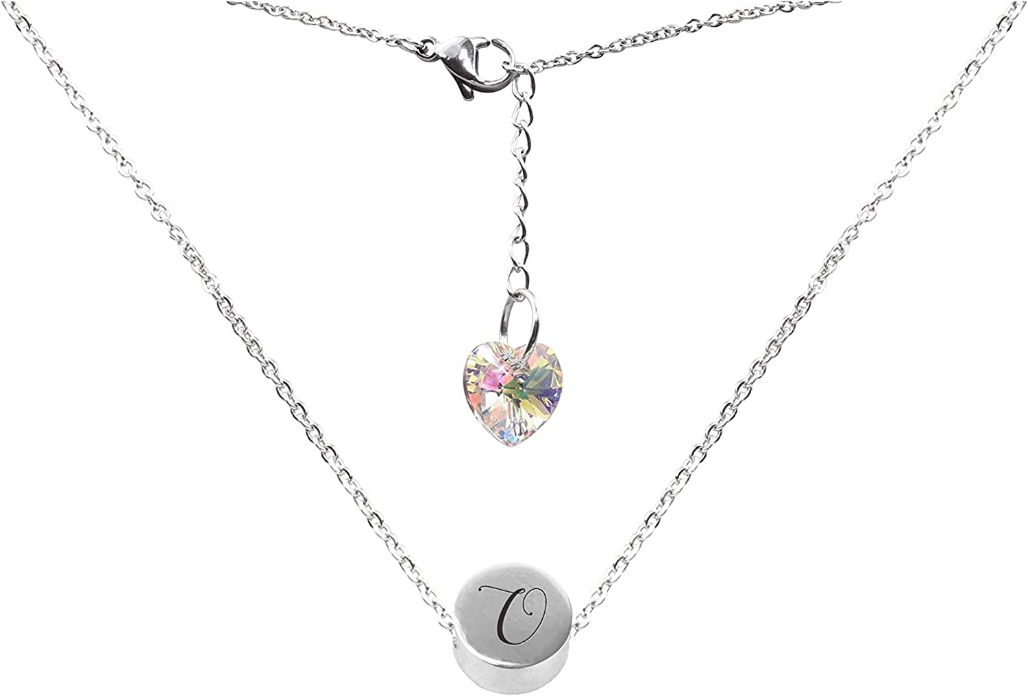 O Pink Box Round Slider Bead Initial Necklace Made with Crystals from Swarovski