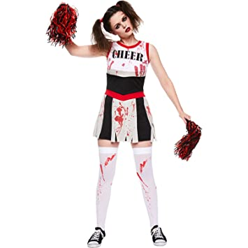 amscan womens zombie cheerleader ladies halloween fancy dress costume