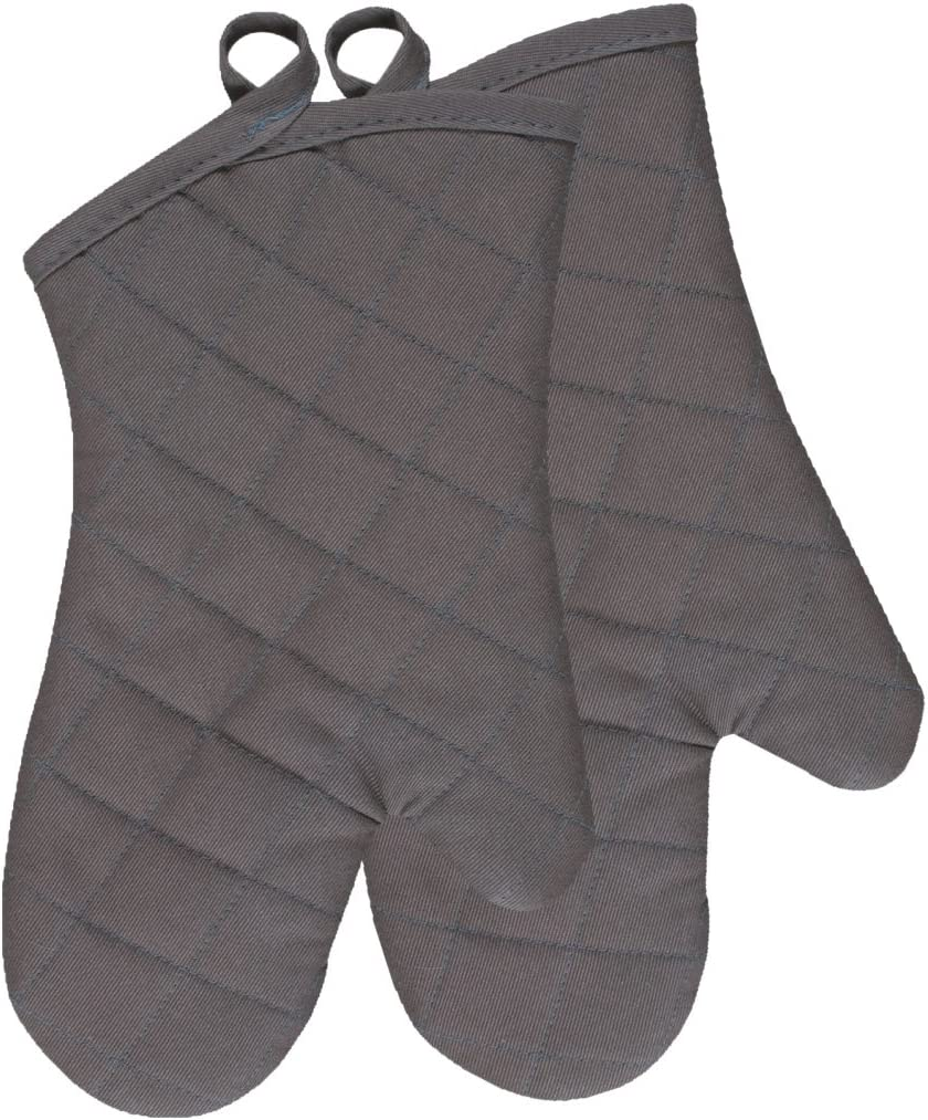 KAF Home Chef's Oven Mitts, Pewter, Set of 2, Machine Washable