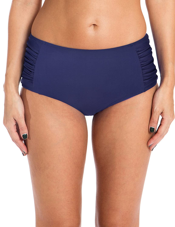 Ocean BluesレディースSwim標準Ruched Midrise Bikini Bottom B074B57GQR X-Large|ネイビーブルー