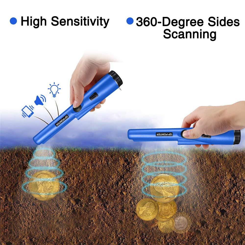 PiAEK Detectores de Metales Pinpointer para Adultos/niños, de Mano, Totalmente Impermeables Pro Detector de Metales de Alta sensibilidad con Funda Treasure ...