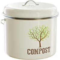 Third Rock Compost Bin for Kitchen Counter - 1.3 GALLON 5 LITER | Premium Dual Layer Powder Coated Carbon Steel Compost Bin Countertop Bucket | Includes Charcoal Filter for Kitchen Compost Bin