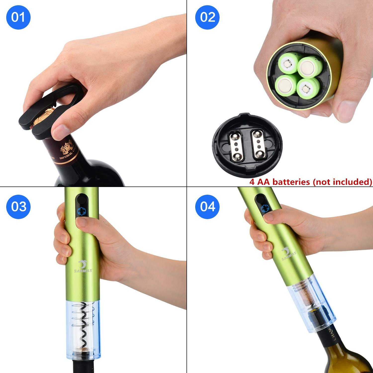 Batteries Not Included Aluminum Alloy Automatic Corkscrew and Foil Remover Electric Wine Opener with Foil Cutter Great Wine Tools and Wine Accessory for Wine Lover Gift Batteries Powered