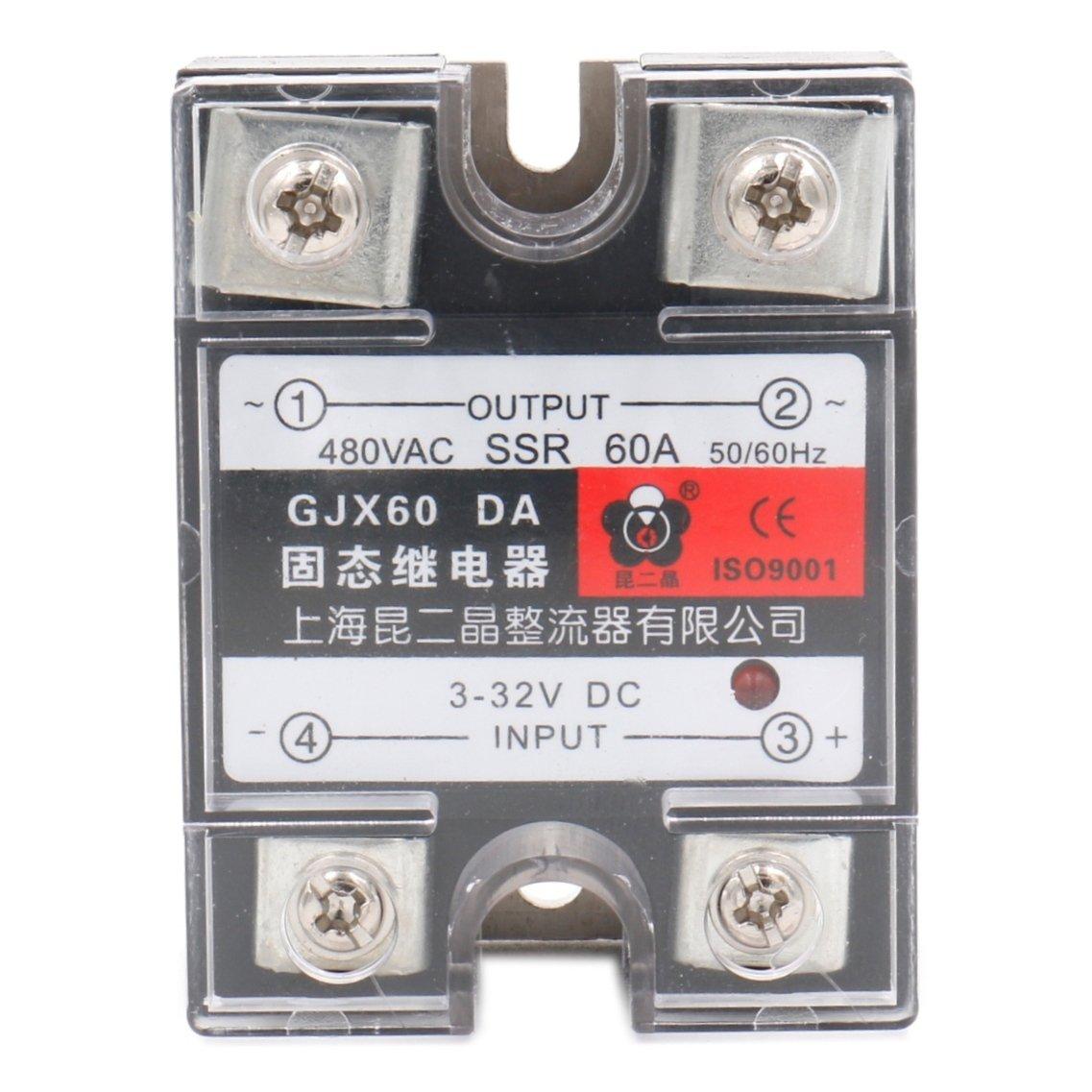 24-480VAC Heat Sink Baomain SSR-60DA 60A Solid State Relay Module 3-32VDC