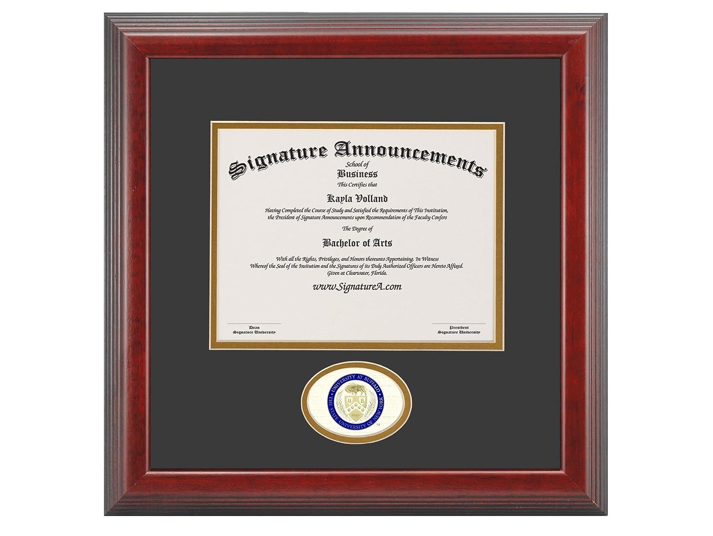 Signature Announcements University-at-Buffalo Undergraduate Sculpted Foil Seal Graduation Diploma Frame 16 x 16 Cherry