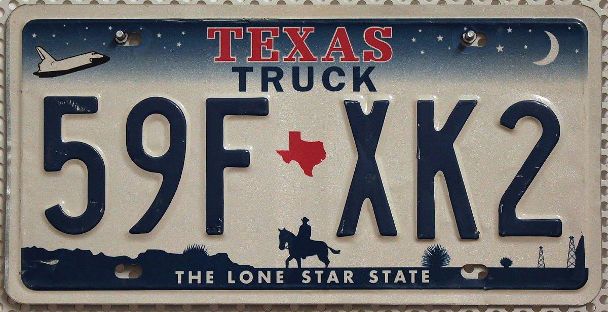 USA Nummernschild TEXAS TRUCK ~ US Kennzeichen COWBOY REITER Motiv ~ Blechschild