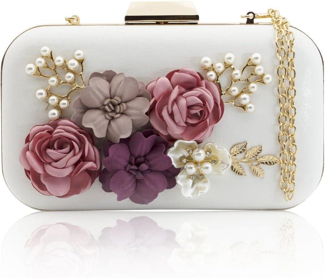 TOOGOO Bolsos de Embrague de Las Mujeres Bolsos de Cuero de la Flor Bolso de Tarde de la Cartera de la Perla de sobre (Blanco)