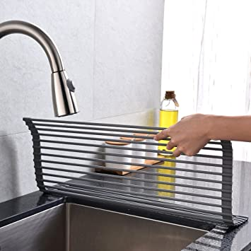 Kitchen Sink Dish Drying Racks Amazon vccucine modern extra large roll up dish drying rack vccucine modern extra large roll up dish drying rack kitchen countertop sink stainless steel drying workwithnaturefo