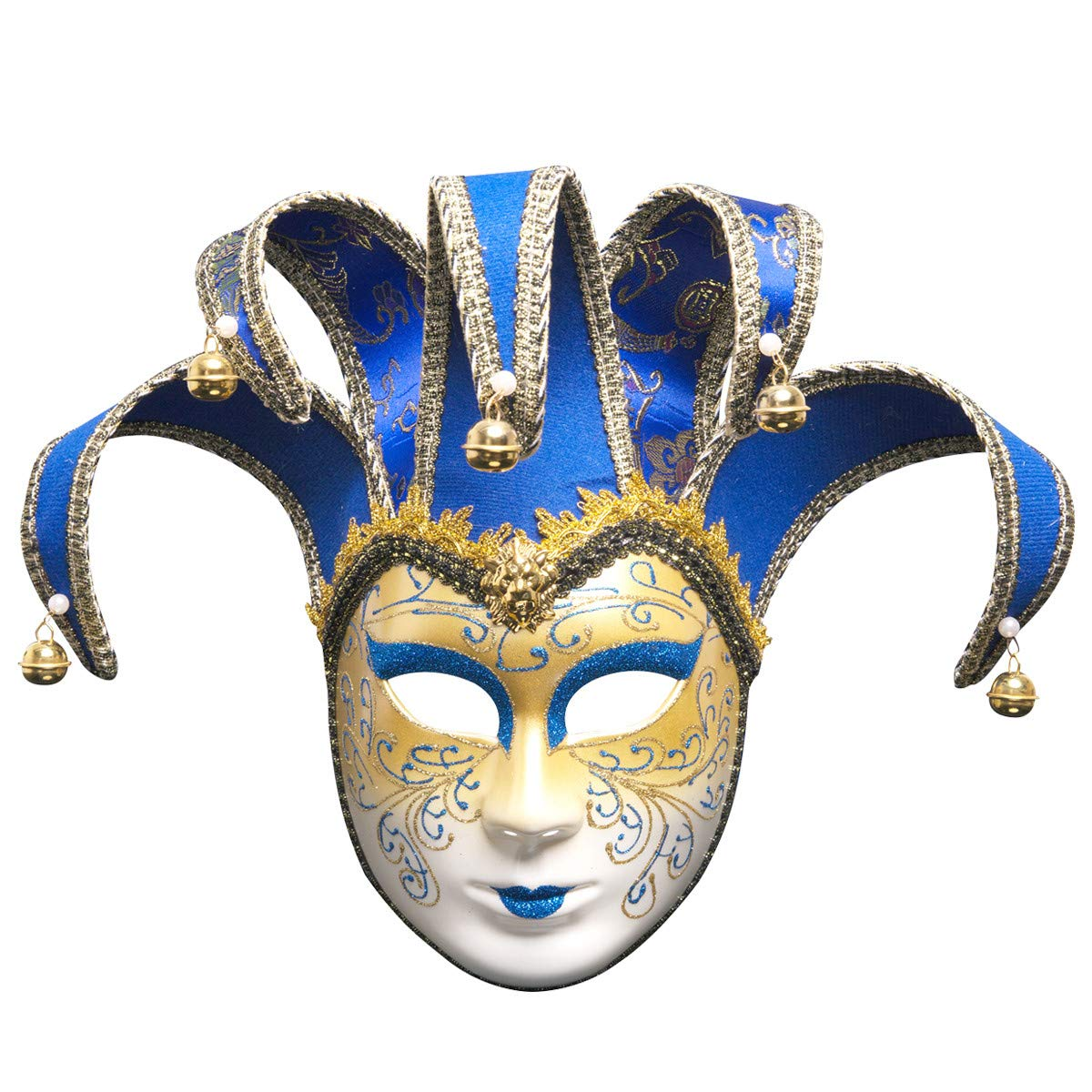 Sonmer Full Face Venetian Joker Masquerade Theater Mask, Mardi Gras Party Ball Mask (Blue)
