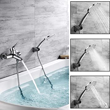 Chrom Wasserfall Bad Armaturen Badewanne Wasserhähne Wandhalterung Handbrause