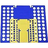 SONGMICS LCF001, Doblador de Ropa (Pantalones, Camisas) Adulto o Infantil, Azul (59 x 70 cm) y Amarillo (36 x 42 cm)