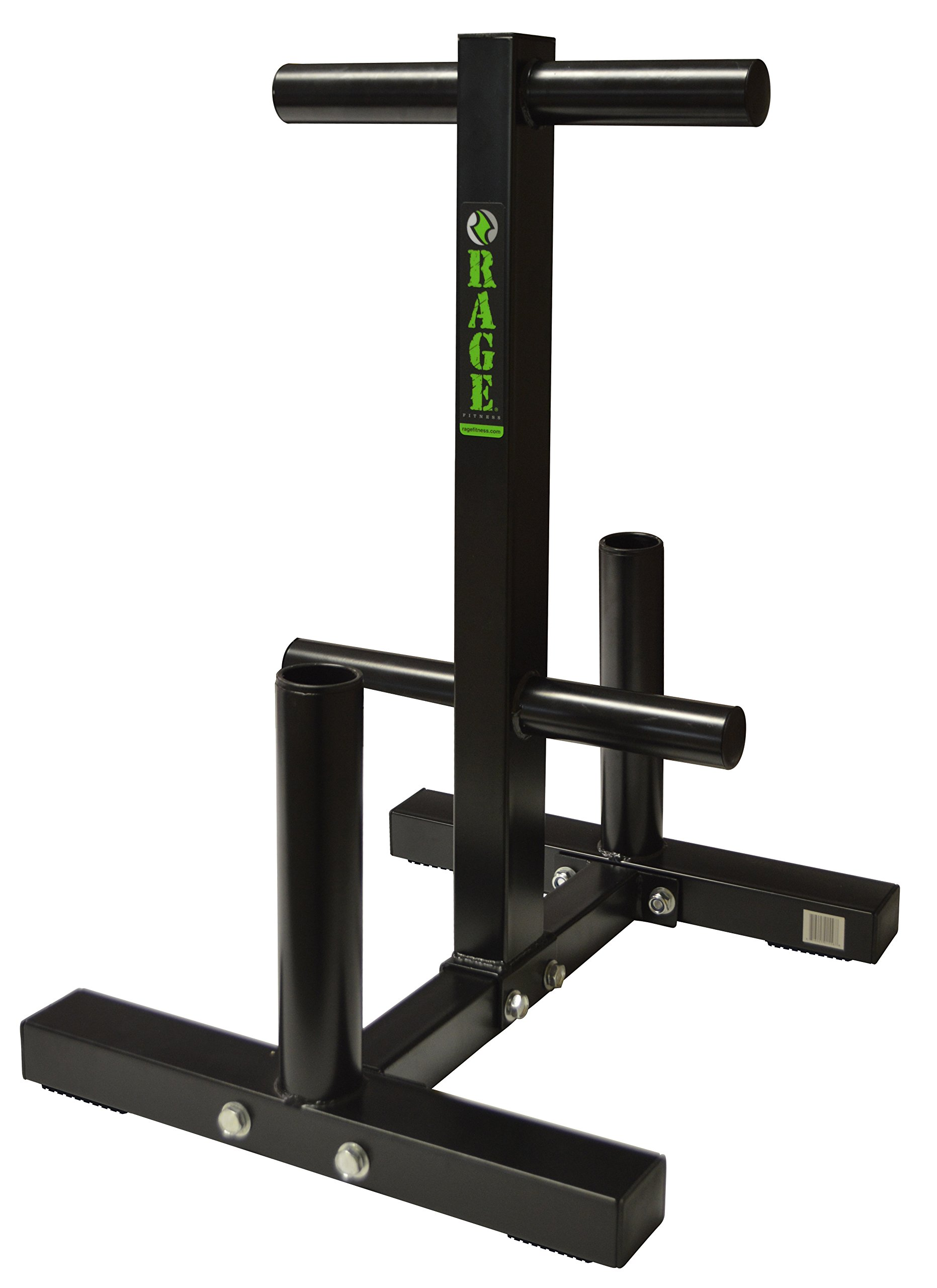 "Rage Fitness Olympic Weight Plate Rack and Barbell Holder, Holds 2 Barbells up to 2"" in Diameter, Bumper Tree Stand"