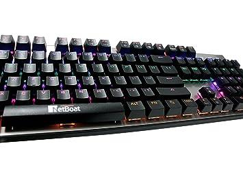104 teclas Impermeable Teclado mecánico de gaming, NetBoat Multicolor retroiluminación LED (8 modos de