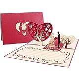 Hochzeitskarte Glückwunschkarten Hochzeitskarten mit Umschlag, Pop Up Karte fur Glückwunsch und Einladung