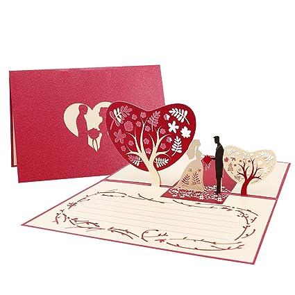 Unomor - Tarjeta de invitación con relieve 3D para bodas, aniversarios y ocasiones especiales.