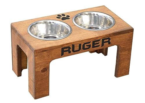 Raised dog bowl feeding stand distressed wh ite 30x12x5