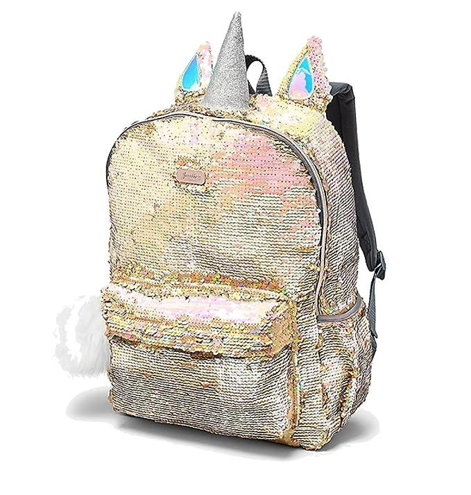 Amazon.com | Justice School Backpack Flip Sequin Gold Unicorn | Kids Backpacks