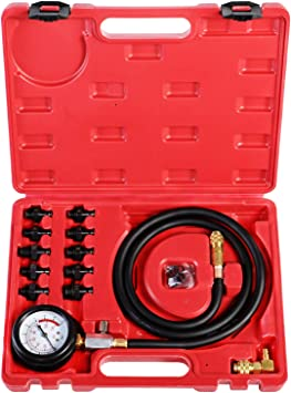 A YSTOOL 8PCS Engine Compression Tester Kit Automotive 300PSI Cylinder Pressure Test Gauge Tool Set for Auto Car Truck Motorcycle Gasoline Petrol Gas Engine Diagnostic with Red Case N