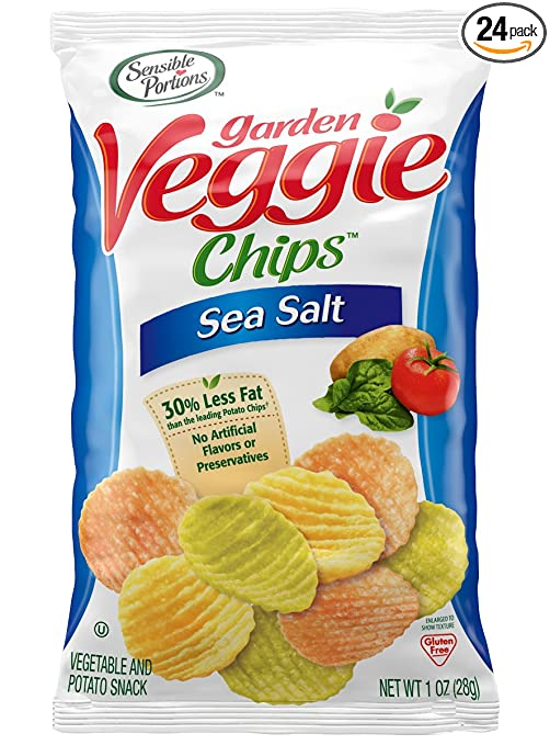 Sensible Portions Garden Veggie Chips, Sea Salt, 1 Ounce (Pack of 24)