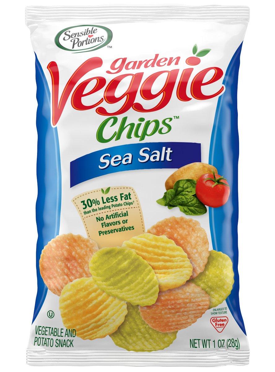 Sensible Portions Garden Veggie Chips, Sea Salt, 1 oz. Bag, (Pack of 24)