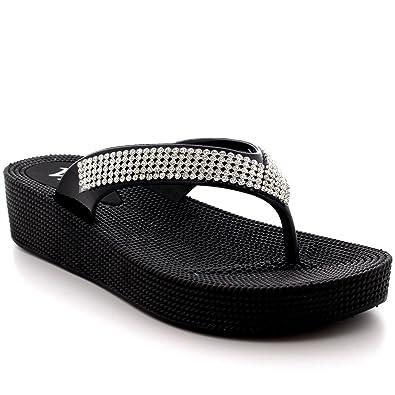 Viva Womens Beach Holiday Thong Sandals Jelly Wedge Heel Diamante Flip Flops B01AGONVBE