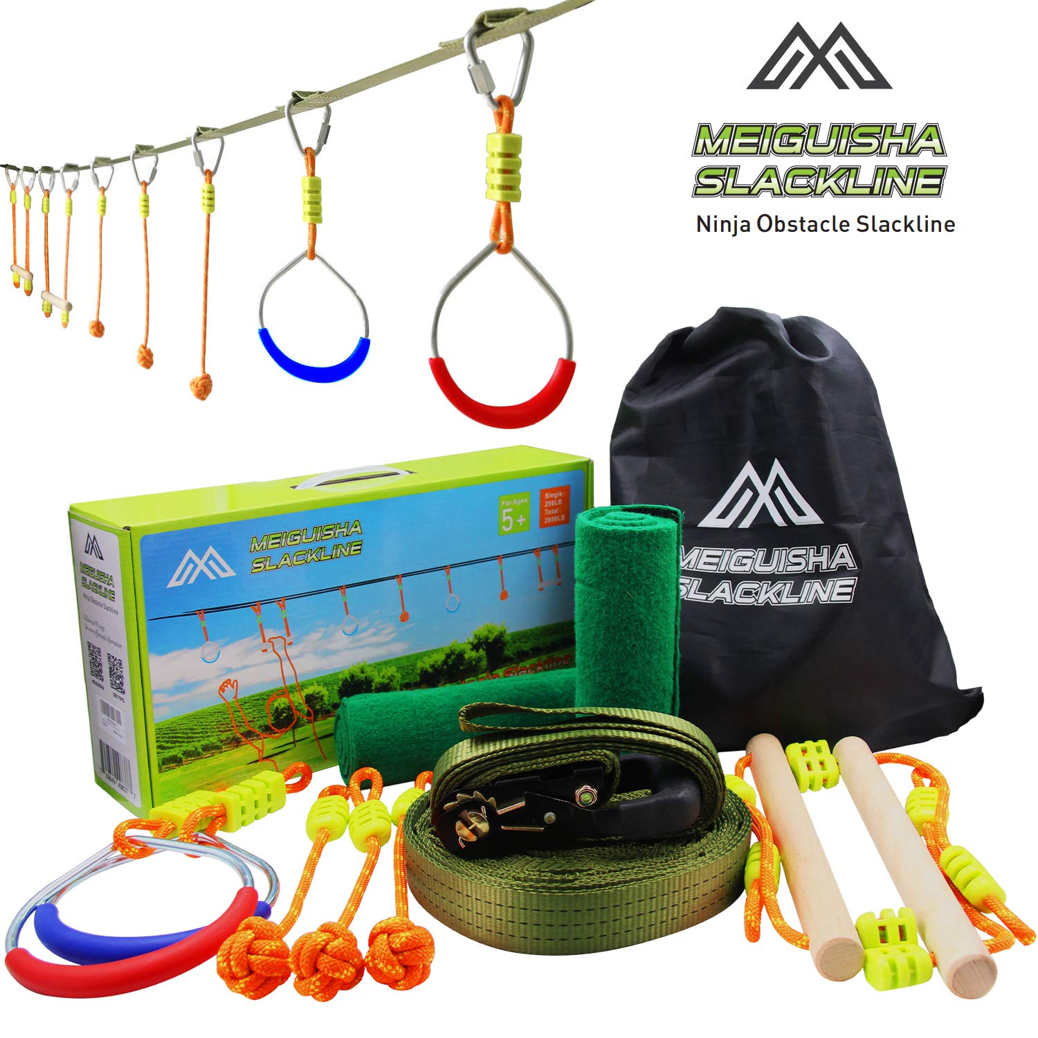 MeiGuiSha Ninja Obstacle Course – Total 2000LB Capacity Slackline with 2 Gym Rings, 2 Tree Protectors, 3 Monkey Fists, 2 Monkey Bars and Carry Bag