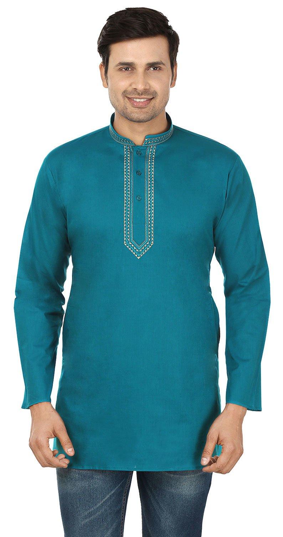 Maple Clothing Cotton Mens Short Kurta Shirt Embroidered Indian Dress shkembcmb-km-ap
