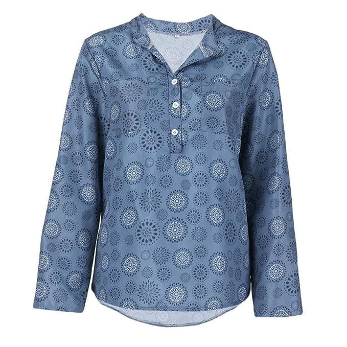 Camisas Mujer K-Youth 2018 Otoño Blusas para Mujer Sexy Gasa Cuello en V Impresión