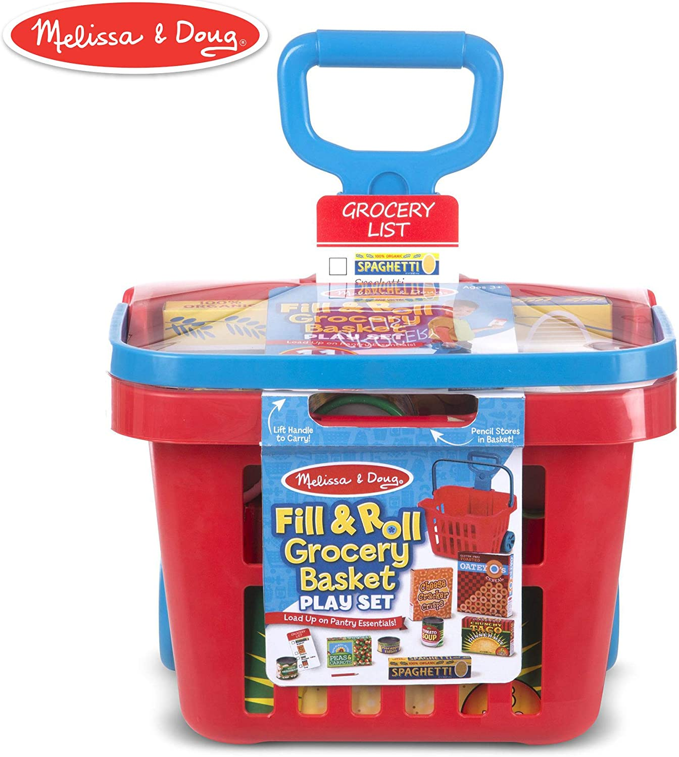 "Melissa & Doug Fill & Roll Grocery Basket Play Set (Play Food, Durable Construction, 11 Pieces, 22"" H x 10.25"" W x 11.75"" L)"