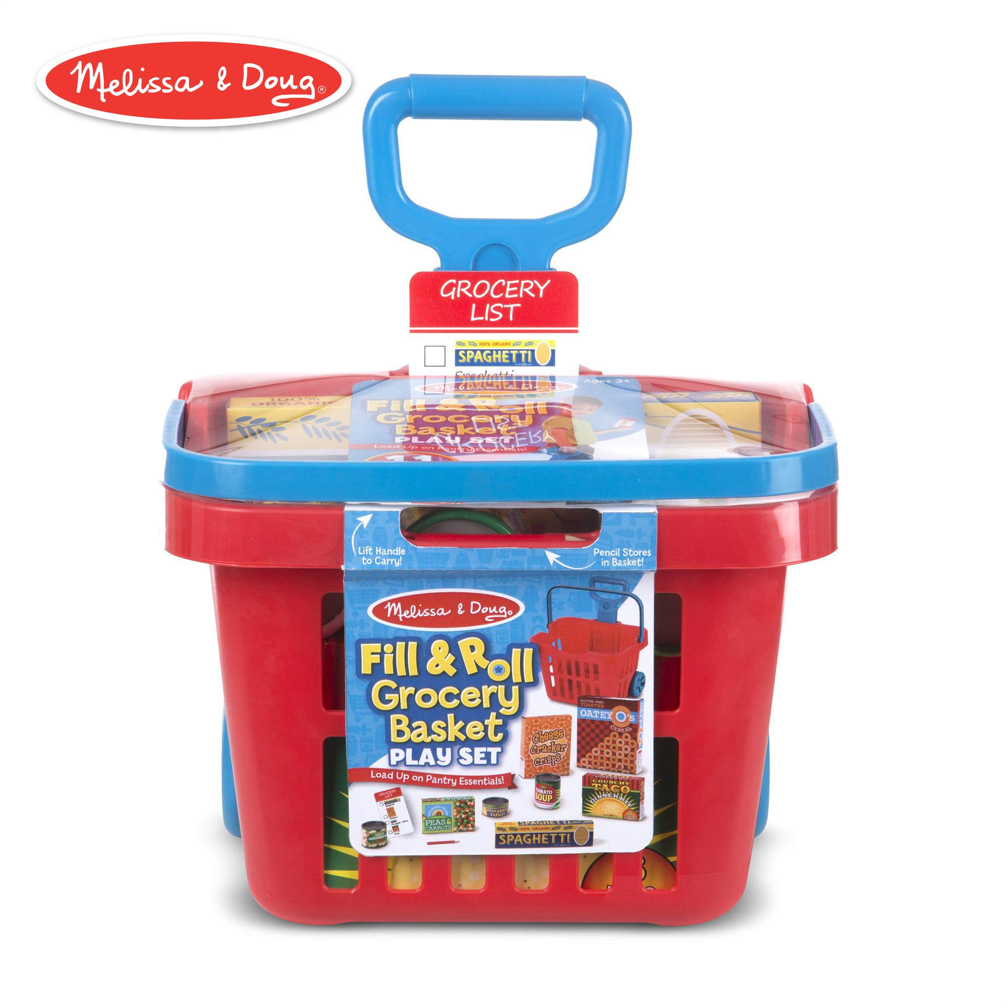 Melissa & Doug Fill & Roll Grocery Basket Play Set (Play Food, Durable Construction, 11 Pieces, 22'' H x 10.25'' W x 11.75'' L)