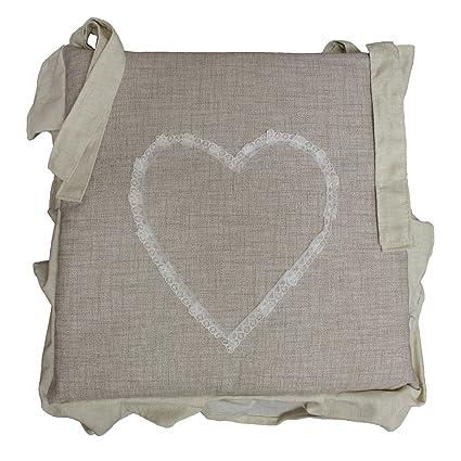 russo tessuti 6 cuscini sedie cucina coprisedia imbottiti cuore ricamato laccetti vari colori beige