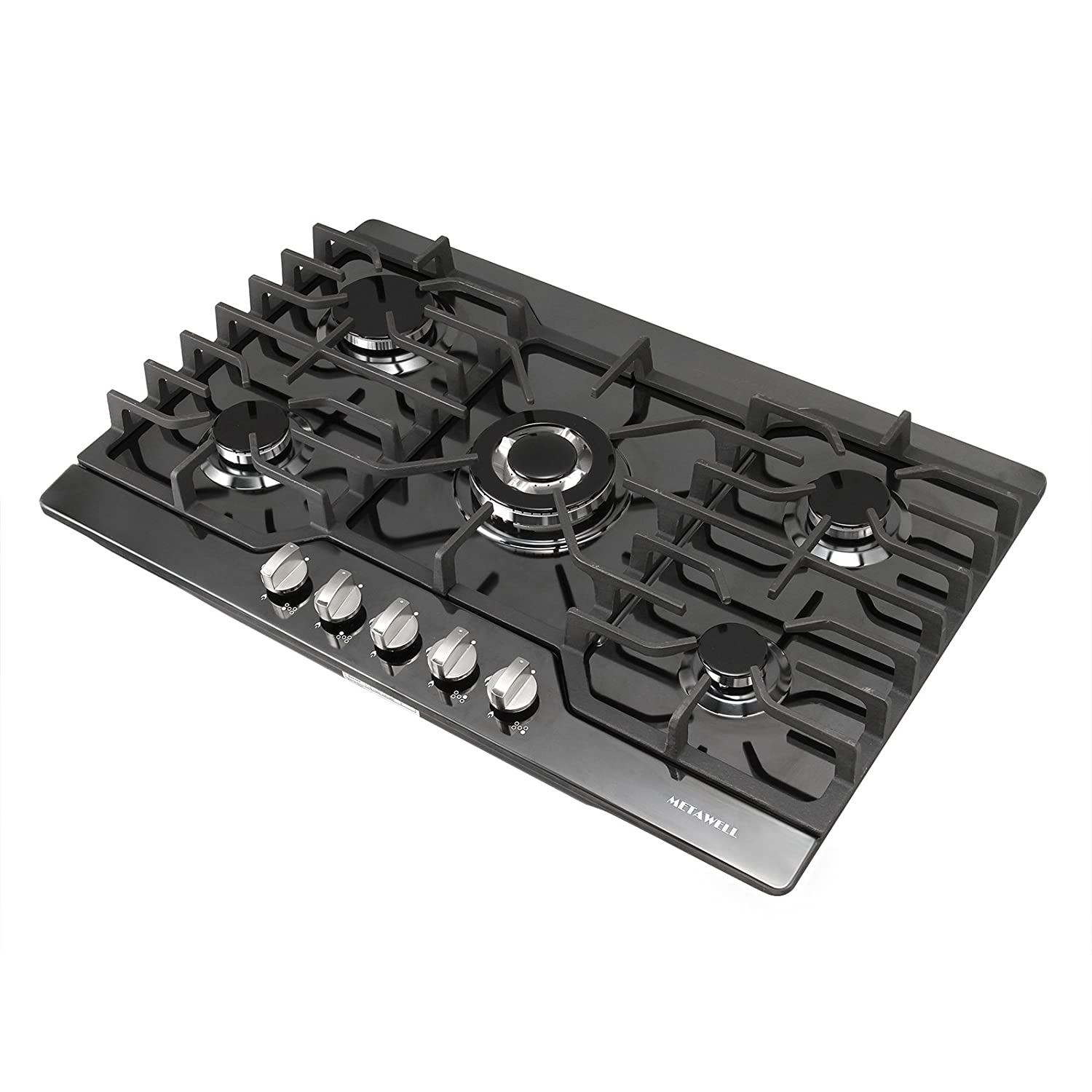 "[Ship from CA,US ] METAWELL 30"" Black Titanium Built-in 5 Burners Stoves Natural Gas Hob Cooktops Cooker"